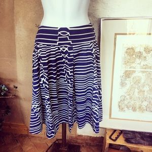 Maeve geometric print pleated blue and white skirt